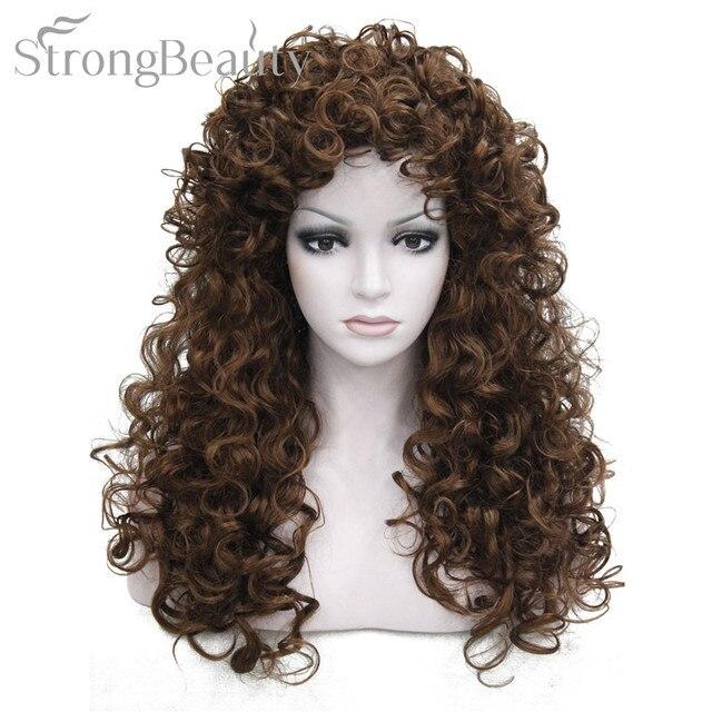 強力な美容人工毛ロングカーリーブロンド茶黒かつらコスプレ女性のための