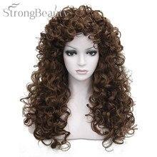 Silne piękno syntetyczne z długich włosów kręcone blond brązowe czarne peruki Cosplay peruki dla kobiety