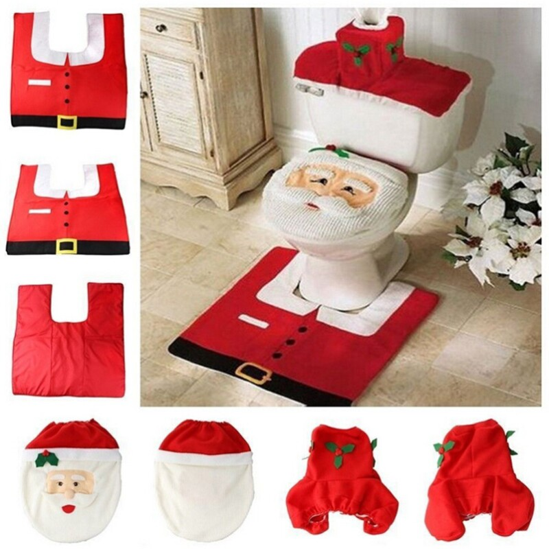 لوازم الديكور عيد الميلاد سانتا مجموعة غطاء مقعد ورق التواليت منشفة و سجادة الحمام