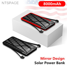 8000mAh Solar Mini Power Bank 2.4A Quick Charge Portable Mirror Powerbank Fast Charging External Battery Dual Cable