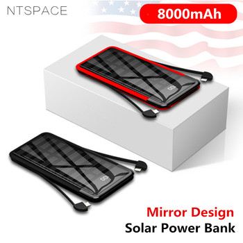 8000mAh Solar Mini Power Bank 2.4A Quick Charge Portable Mirror Powerbank Fast Charging Solar Power External Battery Dual Cable