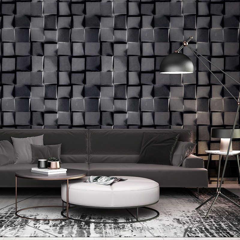 living grey office bedroom abstract plaid geometric walls paper stereoscopic dark wallpapers preto roll sfondo brick parede geometrico branco papel
