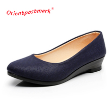 Women Ballet Shoes Wedges for Office Work Cloth Sweet Loafers Womens Pregnant  Oversize Boat