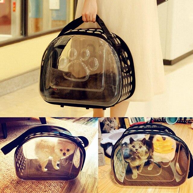 67e7f76ade40 Портативный животное мешок Прозрачный Pet Carrier Кошка складной собака  переноска для путешествий нести сумки AP1107144