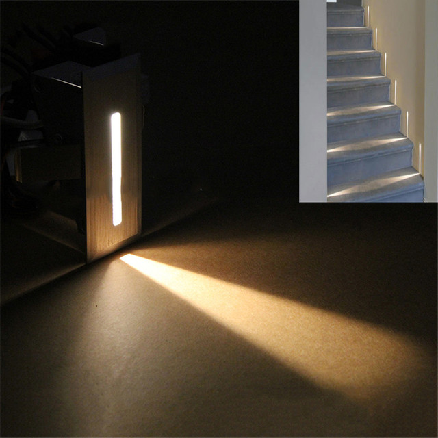 1W LED Stairs Wall Lamp AC85 265V Step Lamp Pathway Wall Corner Lamps Lighting  Stairs