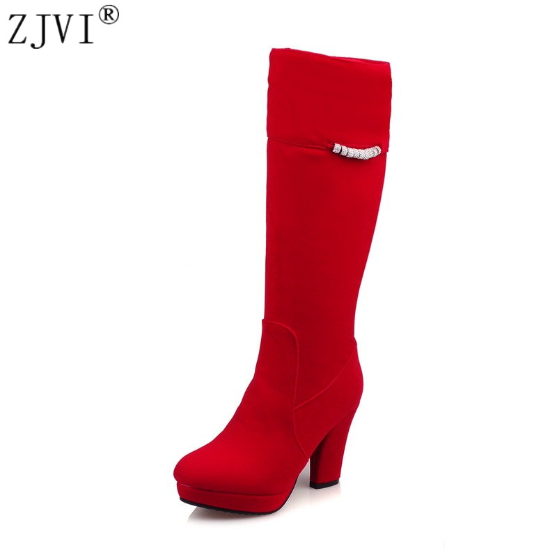 ZJVI woman fashion nubuck autumn winter knee high boots women thick plush thigh high boots 2018 womens thick high heels shoes