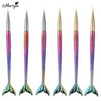 6 шт./компл. Русалка Кристалл Круглая ручка для дизайна ногтей рисунок ногтей Ручка кисти ручки для рисования