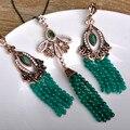 Perlas Africanas Joyería Conjunto Verde de la vendimia de La Joyería Turca Boucle D'oreille Fina Colar Cadena Cuelga Los Pendientes Del Collar Para Las Mujeres
