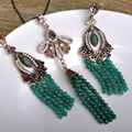 Vintage Jewelry Set Green African Beads Turkish Jewelry Boucle D'oreille Thin Chain Colar Dangle Earrings Necklace Set For Women
