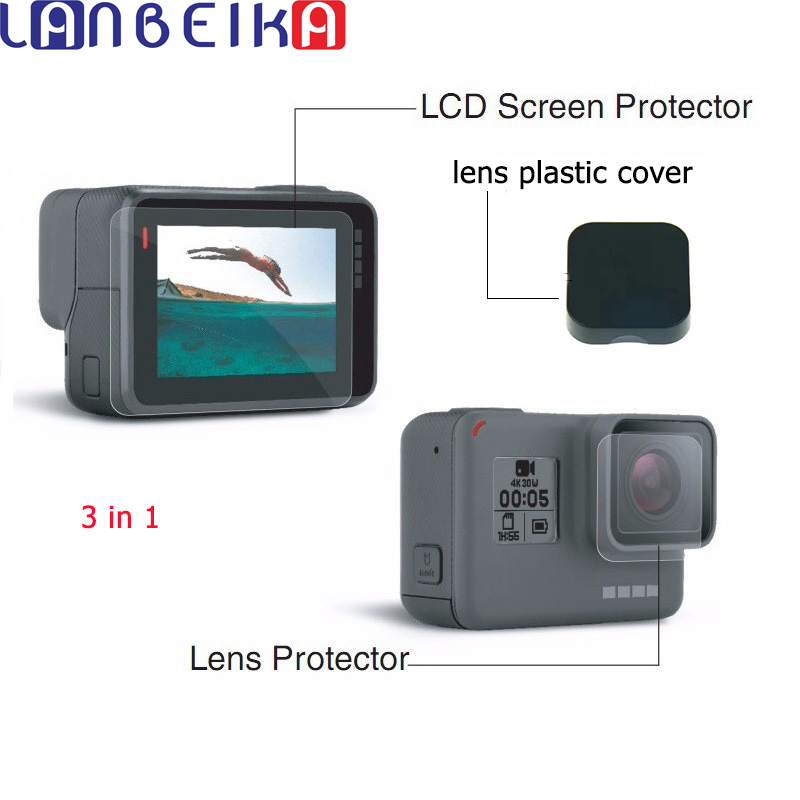 LANBEIKA Gopro Hero 5 6 7 Black Lens Film LCD Screen Protector Protection Film Lens Cap Cover For gopro Camera Accessories