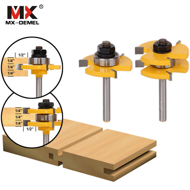 MX-DEMEL 1Set Tongue & Groove Router Bit Set 3/4 Stock 1/4 Shank 3 Teeth T-shape Wood Milling Cutter Flooring WoodWorking Tool 2pcs t wood milling cutter 1 2 1 4 hard alloy matched tongue groove router bit set shank woodworking cutting cutters tool