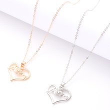 New Design gold And Silver Necklace Simple Letters Heart-Shaped Jewelry Ladies Quality Charm Elegant