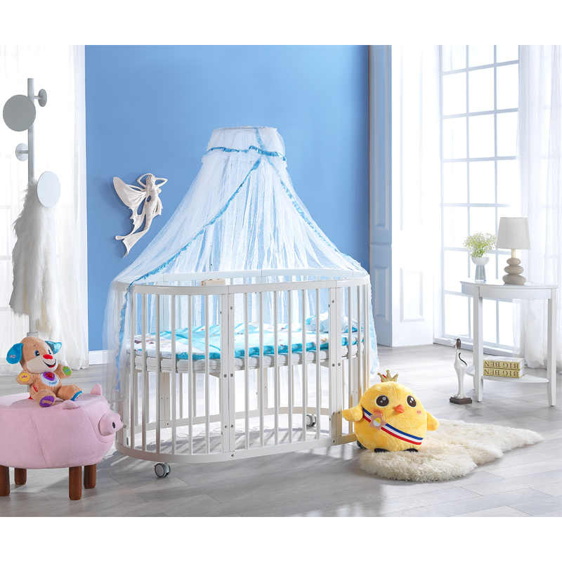 Babyfond oval crib solid wood crib stitching bed multifunctional crib with roller 9 patterns