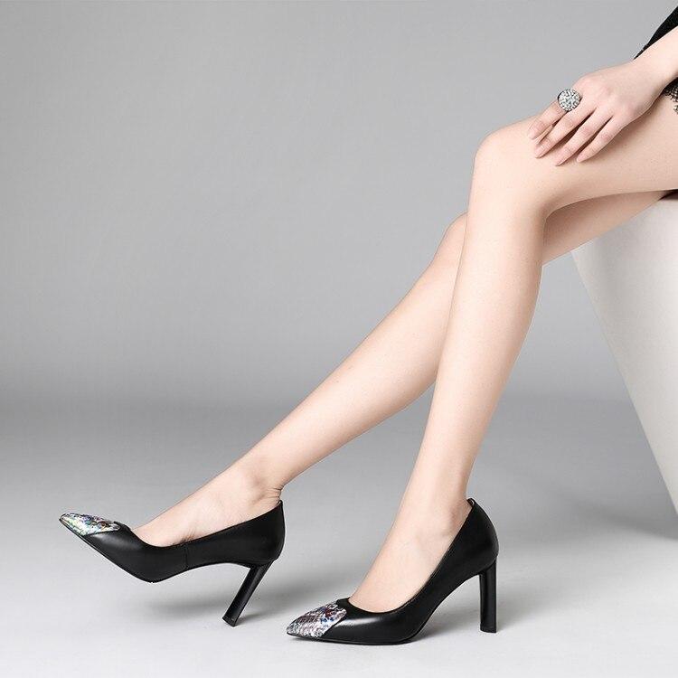 Femme chaussures talons aiguilles femme escarpins bout pointu peu profond T Stage noir/Nude véritable cuir robe de mariée talons - 2