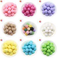 20MM 100Pcs Lot Choose Colors Fashion Beads Chunky Bubblegum Resin Rhinestone Beads Ball For Kids Girl