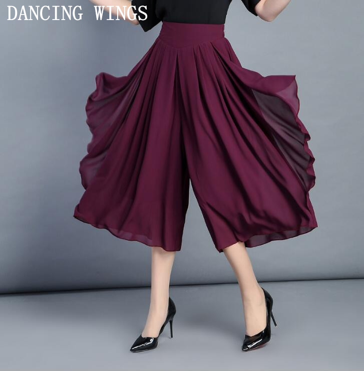 High Quality Chiffon Wide Leg   Pants   Female Summer   Pants     Capris   Elastic Waist Female Culottes   Pants   6 Colors