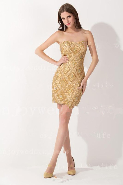 New Sexy Strapless Gold Satin Cocktail Dresses Mini Short Straight Beaded Rhinestones Party Gowns