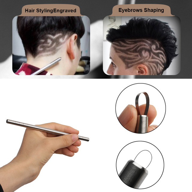 1 Set Template Hair Styling Shaping Eyebrows Beards Pen Salon Engraved Shaver Pen & 10 Blades Hair Care Tools Stainless Steel 2