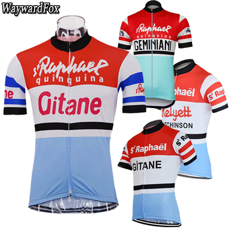 NEW Men's Vintage Cycling Jerseys 4 Style Blue Red White Cycling Clothing Top Shirt Bicycle Wear