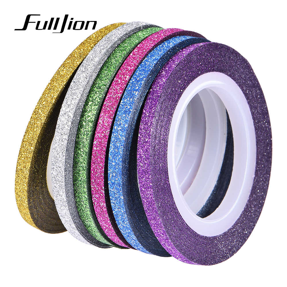 Fulljion 6 Rolls Matte Glitter Nail Striping Tape Line Multi Color DIY Nail Art Decoration Design Manicure Sticker Decals Tips