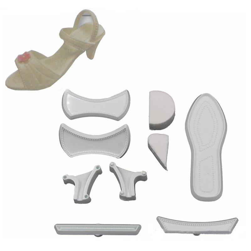 4cac662f9 9 unids set plástico de tacón alto Zapatos molde de cortador del zapato mujeres  Sandalias molde pastel decoración Herramientas
