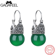 Gagafeel pendiente de la vendimia de lujo joyería de las mujeres reales 100% 925 de ley pendiente de gota accesorios de piedra semipreciosa para la fiesta