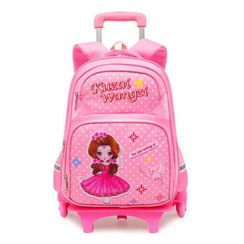2019 Trolley Backpack Kids Removable Wheels Children school bags Girls Kids travel luggage book bag Schoolbag Mochilas Escolar