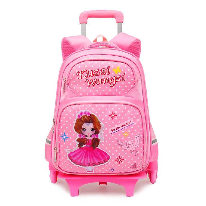 2019 Trolley sac à dos enfants roues amovibles enfants sacs d'école filles enfants voyage bagages livre sac cartable Mochilas Escolar