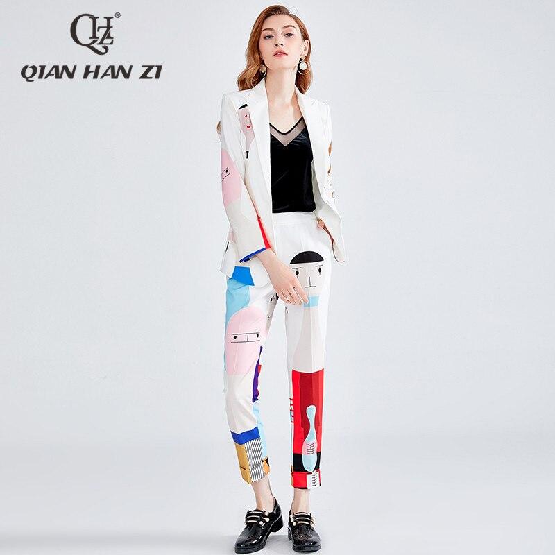2019 projektant mody zestaw jesień zima kobiety z długim rękawem kreskówki druku piękno elegancki garnitur + elastyczny pas dwuczęściowy garnitur w Zestawy damskie od Odzież damska na  Grupa 1