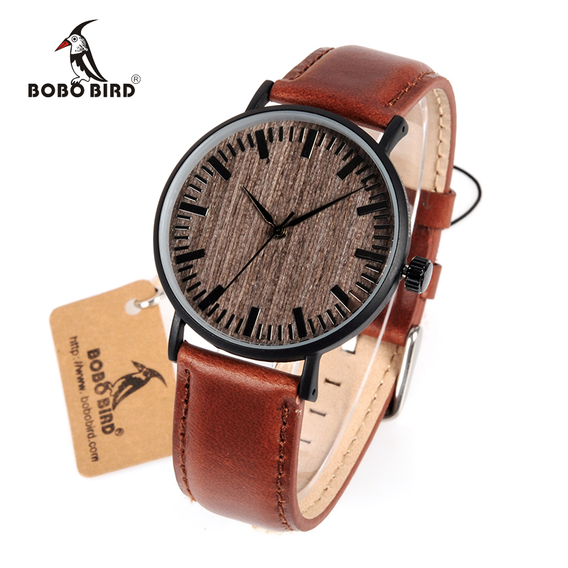 BOBO BIRD WE25 Mens Watch with Metal Case Wooden Dial Face Soft Leather Band Quartz Watches for Men Women bobo bird wh29 mens zebra wood watch real leather band cool visible quartz wooden watches for men with gift box dropshipping