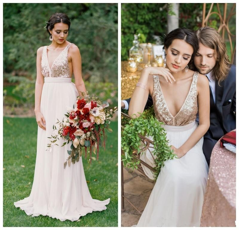 2016 hot sale rose gold sequinned wedding dress by truvelle floor length chiffon pleats sexy back