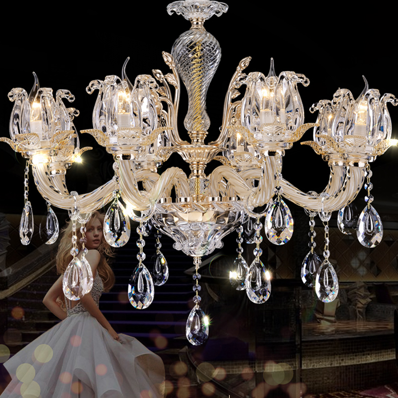 European style crystal chandelier living room chandeliers luxury atmosphere hotel restaurant bedroom lamp modern crystal lamps кольцо 1979 11 r