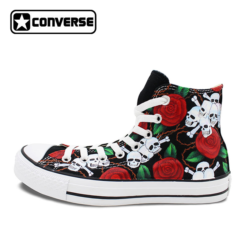Women Men Converse All Star Man Woman Shoes Floral Roses Skulls Original Design Hand Painted Sneakers Boys Girls Christmas Gifts 30pcs in one postcard joseph redoute hand painted the bible of roses christmas postcards greeting birthday cards 10 2x14 2cm