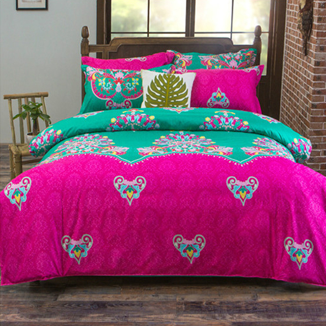 Comwarm 4pcs Bright Color Bedding Set Totem Geometric Bohemian Style