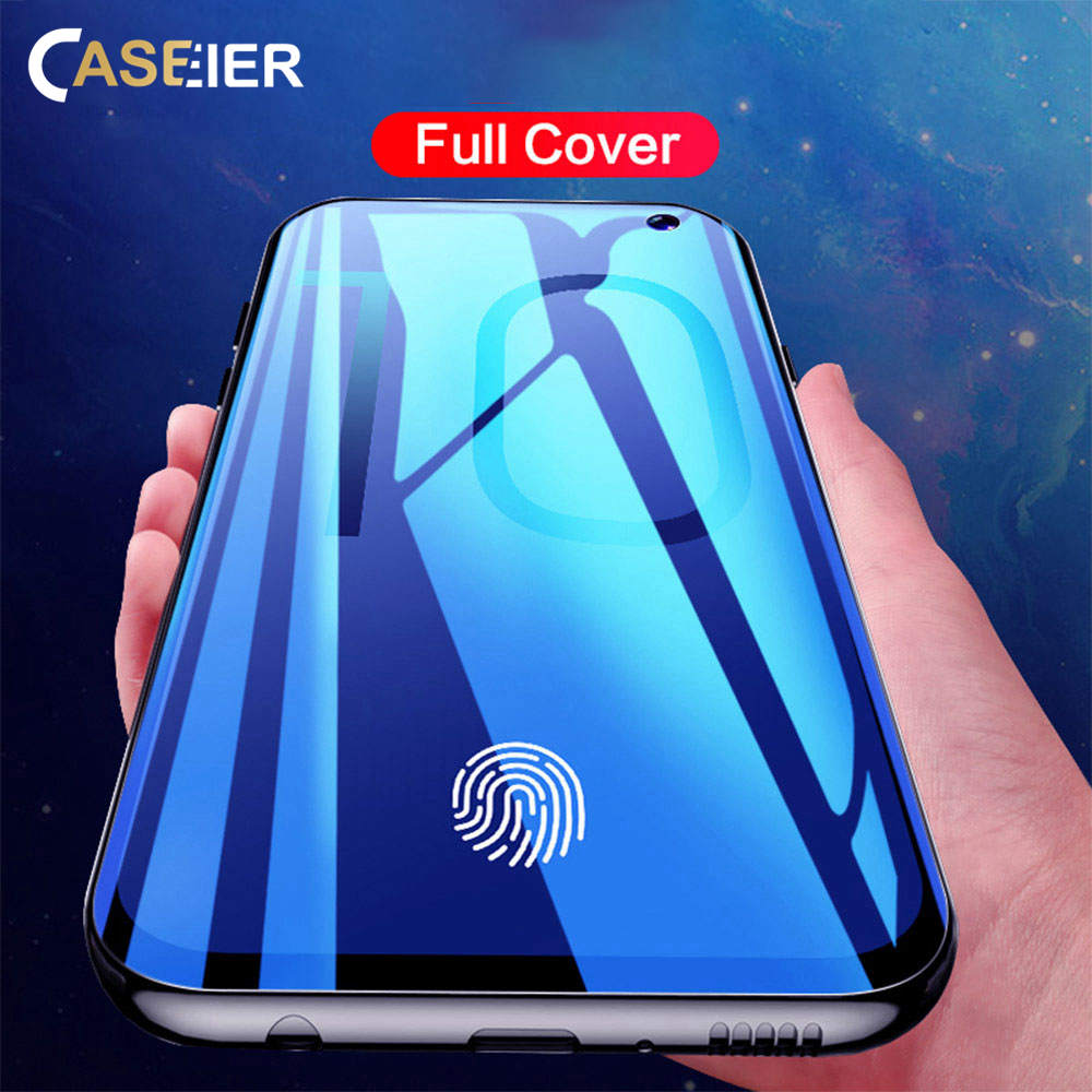 CASEIER Screen Glass Film Full Cover Protector For Samsung Galaxy S10 S10E Plus Note 8 9 New 3D Curved Edge Soft Capa