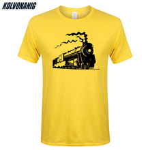 Summer Cotton O-Neck Short Sleeve Fitness Cool Mens T-Shirt Vintage Train Locomotive Old Steam Engine Print T Shirt Male Tees