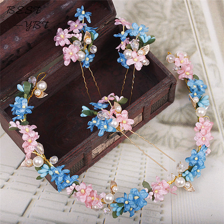 Longwei Korean bride hair band pink suit blue headdress flower simulation hair dress crystal accessories 0343