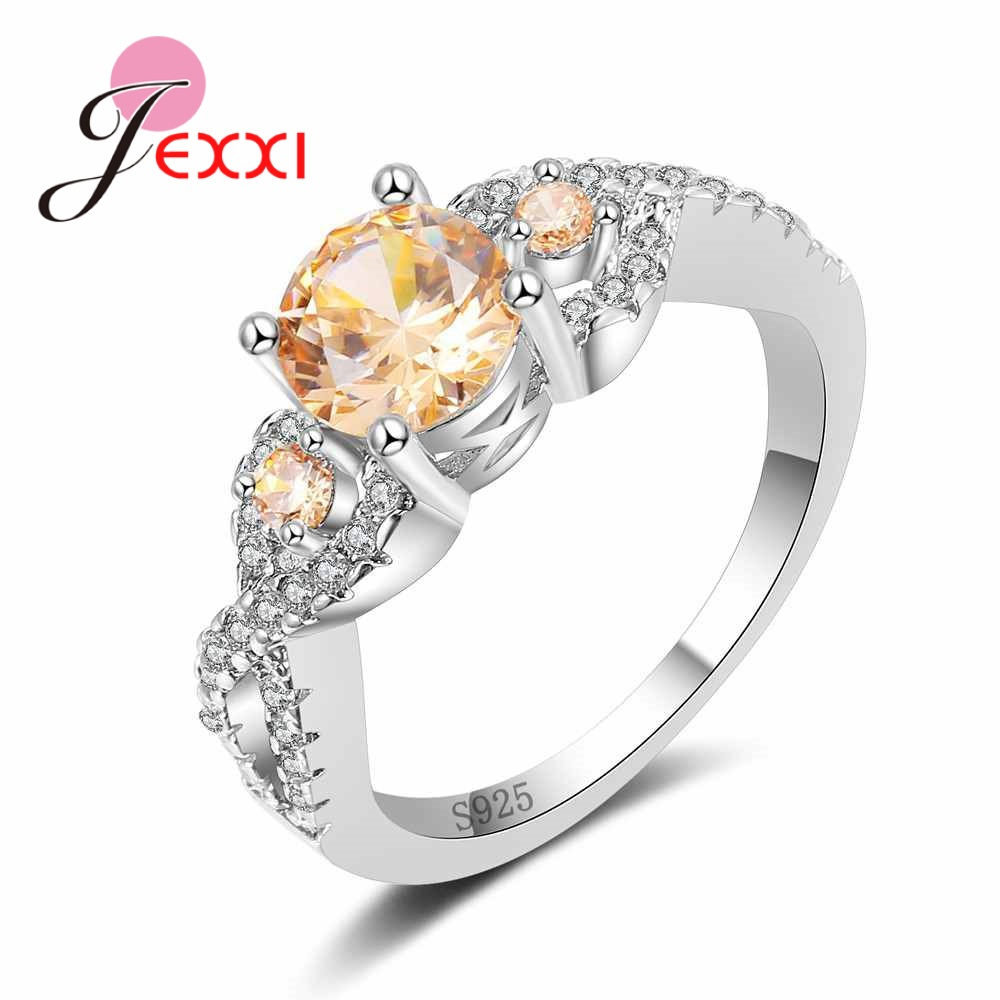 JEXXI Pure 925 Sterling Silver Jewelry Round Champagne Zircon Ring Infinity Female Anel Fashion Hollow Engagement Ring for Women