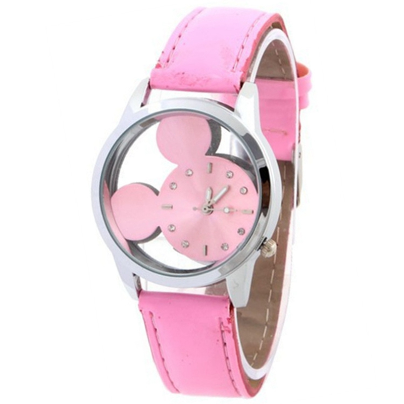 Kids Watch Sports Wristwatch Women Quartz Watch Children Clock Boy Girl Wrist Watch Cute Mouse Cartoon Pink Leather Watches Gift