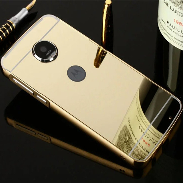 For MOTO Z Play Case Capa XT1635 Plating Mirror Metal Bumper + Hard PC Back Phone Cases for Motorola Moto Z Play Cover ZPlay