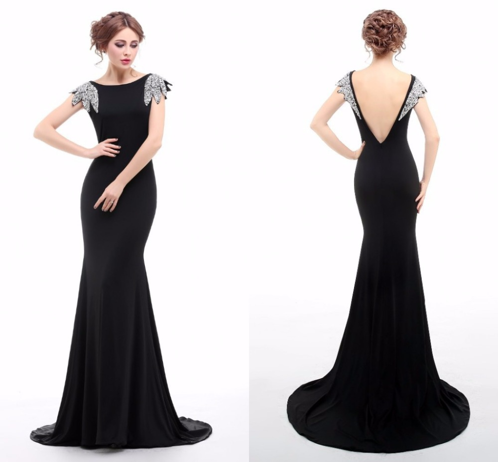 real image black evening dress long mermaid boat neck