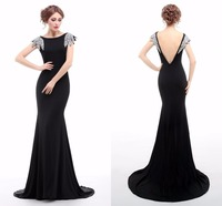 Real Image Black Evening Dress Long Mermaid Boat Neck Sleeveless Sexy Backless Sequins Evening Dresses Vestido De Festa Longo