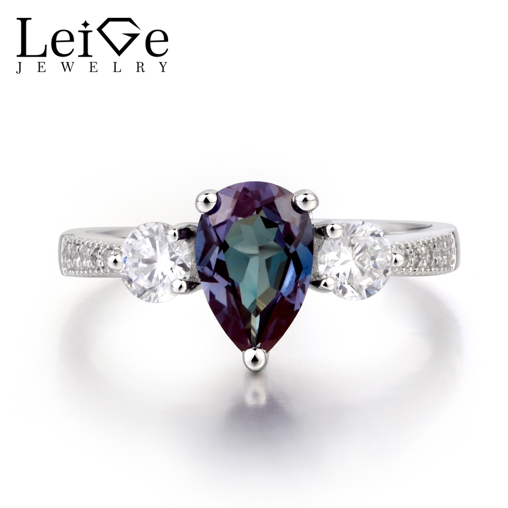 Leige Jewelry Engagement Ring Lab Alexandrite Ring June Birthstone Water Drop Pear Cut Gemstone 925 Sterling Silver Ring Gifts leige jewelry pear shaped engagement rings for women lab alexandrite promise ring sterling silver 925 fine jewelry pear gemstone