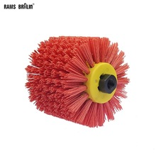 120*100*19mm Red Abrasive Wire Drum Brushes Deburring Polishing Buffing Wheel for Furniture Wood Angle Grinder Adapter