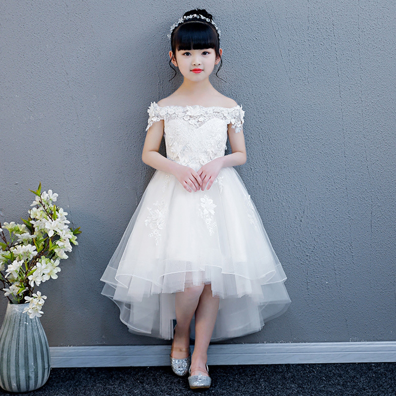Luxury Flower Girl Dreses Wedding Off the Shoulder Princess Dress Lace Up Short Front Long Back Kids Pageant Dress for Birthday wine red lace up details off shoulder lantern sleeves mini dress