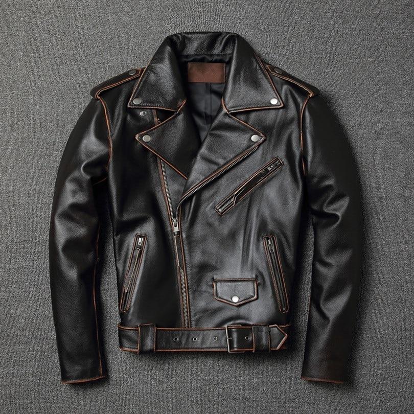YR!Free Shipping.sales.classic Motor Style Genuine Leather Jacket.slim Cowhide Coat.fashion Vintage Slim Jacket.plus Size