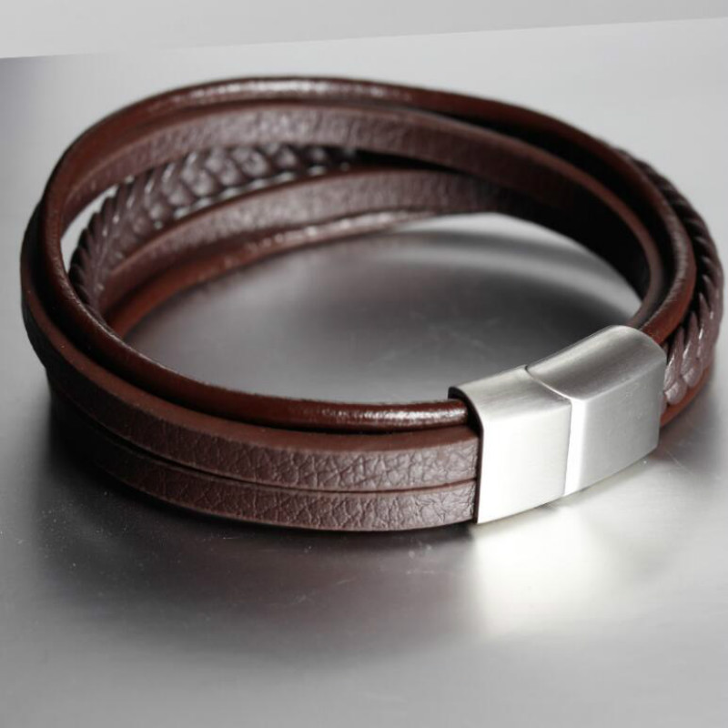 Handmade Bracelet Leather Woven Multilayer Unisex  Leather Bracelet Retro Stainless Steel Magnetic Buckle Leather Cord
