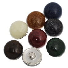 10Pcs Mixed Colors Round Resin Snap Buttons Click Press Charm 18x13mm