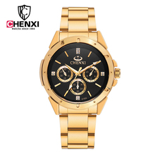 2017 de la moda de cuarzo reloj chenxi hombres relojes de primeras marcas de lujo famoso reloj masculino reloj masculino relogio del reloj de acero de oro