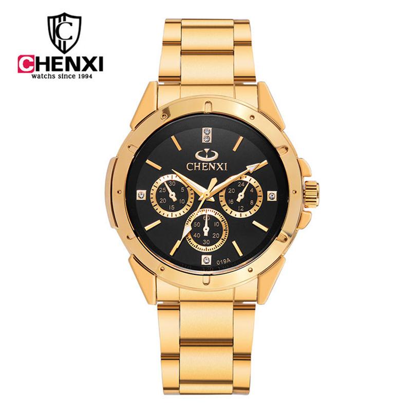 Prix pour 2017 mode Quartz Montre CHENXI Hommes Montres Top Marque De Luxe Célèbre Mâle Horloge Montre-Bracelet Relogio Masculino D'or Montre En Acier